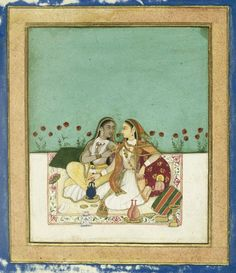Two Women on a Terrace, ca. after 1700. Opaque watercolor and gold on paper, sheet