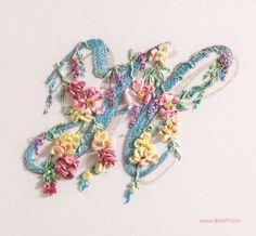 Free Tutorial - silk ribbon embroidery... Letter H by Di van Niekerk