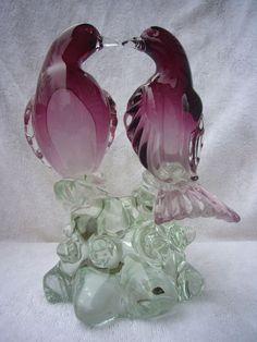 VINTAGE MURANO ART GLASS LOVE BIRD SCULPTURE