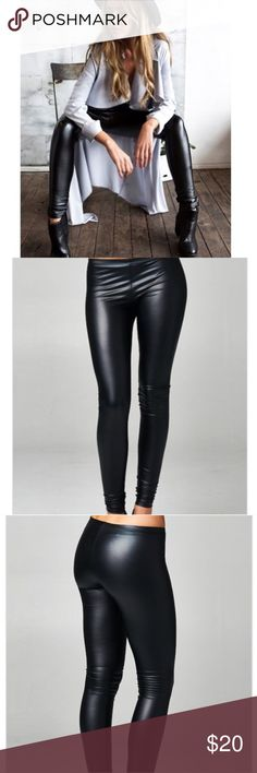 Leather Leggings Fitted leggings with elastic waist. Great stretch! These can be dressed up for a night out or worn simple and chic for a daytime look. Pants Leggings