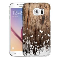 Samsung Galaxy S6 White Butterfly Bushes on Wood Trans Case