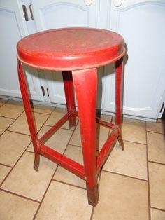 Vintage Stool Red Industrial Metal Kitchen by bluebonnetfields, $48.00