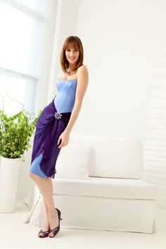 f1cdf433e85e Bias pleated silk chiffon  bridesmaid dress with stretch corset bodice (so  flattering!)