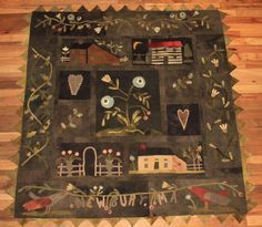 Tonja Gressley: Finished Village Green by Maggie Bonanomi and I used Blackberry's wool. I rearranged the blocks a bit and added a small sashing between them. Wool Applique Quilts, Wool Applique Patterns, Wool Quilts, Wool Embroidery, Felt Applique, Applique Designs, Primitive Quilts, Primitive Folk Art, Primitive Crafts