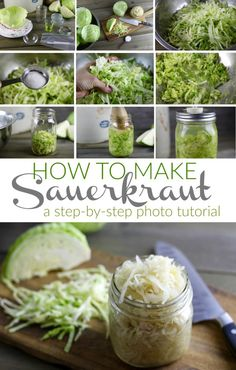Make healthful, probiotic-rich sauerkraut at home using this easy step-by-step tutorial. Now you can fearlessly ferment your own homemade sauerkraut! Homemade Sauerkraut, Sauerkraut Recipes, Canning Sauerkraut, Do It Yourself Food, Vegetarian Cabbage, Fermented Foods, Recipes For Beginners, Canning Recipes, Canning Tips