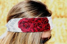 Red Roses on White Hankerchief Bandana Headband by RuralHaze, $9.99