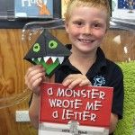 Nick Bland - A Monster Wrote Me a Letter - monster Bookmarks made by folding paper.