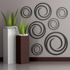 Vinilos Decorativos: Kit 7 circulos #kit #decoración #patrón #mosaico #pared #circulos #espiral #TeleAdhesivo