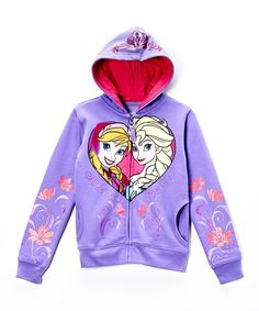 Take a look at this Purple Frozen Zip-Up Hoodie - Girls on zulily today!