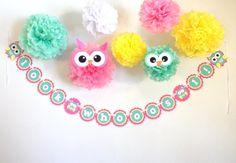 Custom Happy Birthday Banner Look Whooo's....  WITH Owl Tissue Poms by JaeMakes on Etsy.  Visit www.etsy.com/shop/jaemakes Tissue Pom Poms, Happy Birthday Banners, First Birthdays, 4th Of July, Party Themes, Wedding Decorations, Owl, Diy Crafts, Crafty
