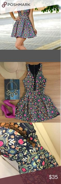 "FRONT TIE FIT N FLARE DRESS SIZE SMALL LIKE PICTURES WITH LIGHT MATERIAL NO INNER LINING Measurements: Armpit to armpit 16"" but can go little bigger due to the tie front Waist 13"" Hips is flare Length from shoulder to bottom 32"" Dresses"