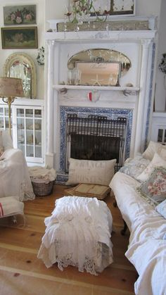 ❥ shabby chic cottage cabin bungalow living room fireplace white romantic decor Victorian