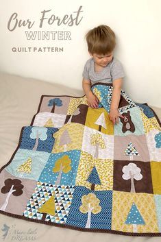 """Modern kids quilt pattern """"Our Forest. Winter"""" - Magic Little Dreams - Modern Quilts and Patterns Boys Quilt Patterns, Applique Quilt Patterns, Baby Set, Baby Baby, Techniques Textiles, Baby Accessoires, Winter Quilts, Baby Boy Quilts, Tree Quilt"""