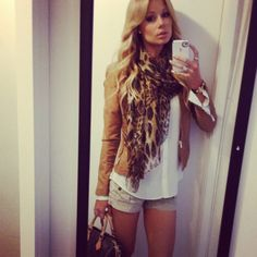 camel jacket, white T, leopard scarf
