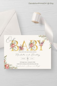This pretty baby shower invite features gold lettering and can be edited for both a couple or a mom to be. This card is an editable instant download template. Pocket Invitation, Invitation Kits, Baby Shower Invitation Templates, Digital Invitations, Invite, Baby Sprinkle Invitations, Couples Baby Showers, Baby Shower Cards, Gold Letters