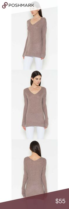 V-Neck Basic Sweater Long dropped sleeve contemporary sweater with open knit accents along the body and side slits.  Color - Mocha Classic Paper Doll Sweaters Crew & Scoop Necks