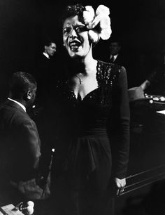Billie Holiday performing in Esquire Jam Session at Metropolitan Opera House. New York, NY, 1944,  Photograph byGjon Mili