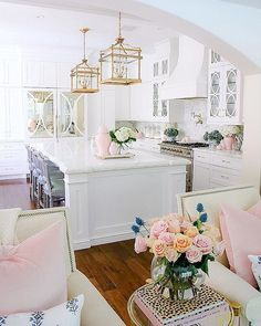 Welcoming Fall Home Tour - Fall Decorating Ideas Kitchen Decoration pink kitchen decor Pink Home Decor, Painted Interior Doors, Autumn Home, Cheap Home Decor, Home Decor Kitchen, House Interior, Kitchen Design Small, Doors Interior, Dream Kitchen White