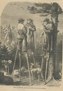 The Landes shepherds on stilts are part of the folklore of Gascony.  They used stilts to traverse thorny terrain and monitor the sheep.