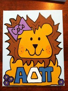 """Personalized sorority Canvas - Alpha Delta Pi Lion """"Alphie"""""""