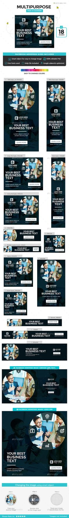 Buy Fitness Banners by Hyov on GraphicRiver. Promote your Products and services with this great looking Banner Set. Web Banner Design, Web Banners, Facebook Ad Size, Website Promotion, Free Website Templates, Google Ads, Banner Template, Business Design, Flat Web