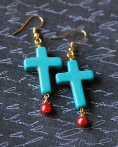 Turquoise Cross Earrings with red Asian Sea Coral beads and Gold