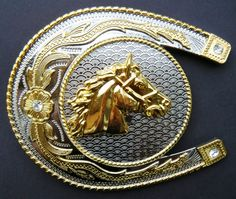 BIG LUCKY HORSE SHOE HORSEHEAD FLORAL ANIMAL WESTERN RODEO BELT BUCKLE BELTS BUCKLES
