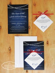 Starry night wedding invitation with clear gems featuring as fairy lights www.weddingart.co.nz