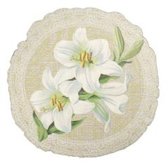 Madonna lily & lace floral vintage pillow round pillow