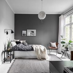 Grey Bedroom Ideas - Minimalist Grey Bedroom Design with Dark Grey Wall - Best G. Grey Bedroom Ideas - Minimalist Grey Bedroom Design with Dark Grey Wall - Best Grey Bedroom Decor: Beautiful Light and Dark Grey Bedroom Ideas and Designs Dark Gray Bedroom, Grey Bedroom Design, Gray Bedroom Walls, Grey Bedroom Decor, Home Bedroom, Gray Walls, Bedroom Designs, Trendy Bedroom, Modern Grey Bedroom