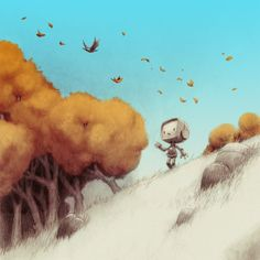 "by Jake Parker - ""Sparrow! What's happening to all the leaves?"" robot excitedly asked. The sparrow loved autumn and told him all about how the leaves get old and fall off the trees to make room for next year's leaves to grow. ""Soon, the trees will be bare, the flowers gone, and the insects will hide themselves away."" The sparrow then paused and spoke softly, ""winter is coming."""