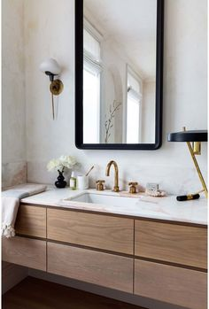 Sarah Elliott Photography / Athena Calderone Home Bathroom Staging, Oak Bathroom, Bathroom Light Fixtures, Bathroom Interior Design, Home Interior, Modern Bathroom, Master Bathroom, Bathroom Lighting, Bathroom Ideas