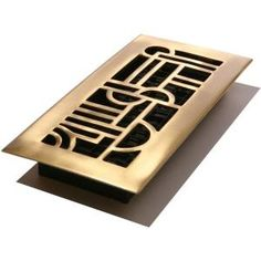 Decor Grates 4 in. x 10 in. Satin Solid-Brass Art Deco Register-AD410-SB at The Home Depot