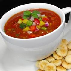 Gazpacho.    The best gazpacho recipe I've ever found. I love it so much I make a batch at the beginning of each week and store it in the fridge for lunch or quick dinner.  Serve with broiled Swiss, spinach, red onion sandwich (add avocado after removing from the oven)