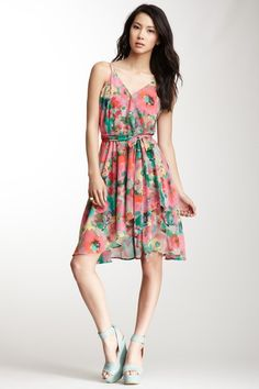 BB Dakota Indra Watercolor Print Wrap Dress