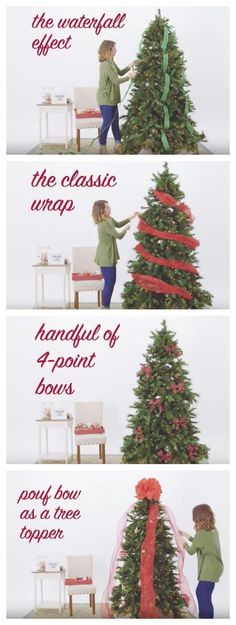 If you're looking for a creative way to decorate your tree this holiday, watch this how-to video with 5 Ways to Use Ribbon! It shows how you can achieve the waterfall effect, the classic wrap, 4 point bows, a pouf bow as a tree topper and ribbon bunches. Christmas Tree Ribbon Garland, Christmas Tree Themes, Noel Christmas, Xmas Decorations, Christmas Projects, Winter Christmas, Holiday Decor, Holiday Ornaments, How To Decorate Christmas Tree