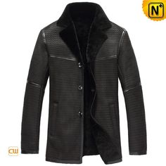 CWMALLS® Pierre Embossed Sheepskin Jacket Black CW877255 - Embossed sheepskin jacket in black for men, slim fit design with the thin sheepskin shearling materials, at the same time it can keep you toasty in winter days. The smooth and pretty embossing on the leather shell is a highlight of the jacket.