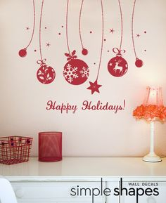 vinyl wall decal Merry Christmas Happy Holidays, Christmas Vinyl, Christmas Projects, Holiday Greeting Cards, Holiday Ornaments, Holiday Crafts, Decorating Tips, Holiday Decorating, Vinyl Wall Decals