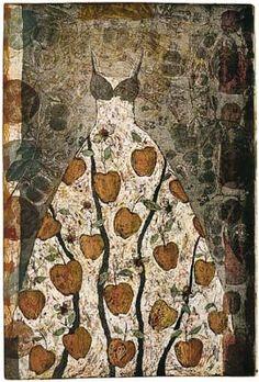 """Venus Dress"""" (1994) 35.5"""" x 23.75"""" etching  by Kirsi Neuvonen (born 1960). Kirsi is a Finnish printmaker."""