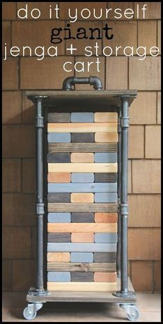 Do it Yourself Outdoor Party Games {The BEST Backyard Entertainment DIY Projects} DIY Projects – Outdoor Games – Make yourself Giant Jenga Backyard Game and Rolling Industrial Storage Cart DIY Tutorial via My Sweet Savannah Diy Yard Games, Diy Games, Backyard Games, Backyard Storage, Garden Games, Jenga Diy, Giant Jenga, Outdoor Projects, Industrial Decor
