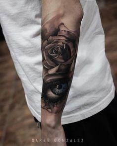   Today's work   sleeve in progress ... #sareegonzalez #minimal #minimalsg #rose #eye #tattoo #silverbackink #art #tattoos by sareegonzalez
