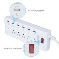 Wish | Surge Protected Extension Socket Power Strip Plug US Standard Multi Adapter 6 USB Charging Ports For Ipone PCs Android Devices