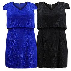 PSD Curvylicious Women's Plus Size Cap Sleeve Lace Overlay Dress