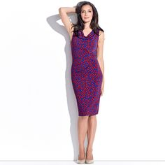 Rihanna S.S.S.H.H Pencil Dress - SapphireVermillion  This sleeveless irregular spot print dress is your secret to the perfect figure! Featuring a cowl neckline, the S.S.S.h.h Dress: Shapes. Supports. Smooths. Highlights natural curves. Helps Firm & Flatter.