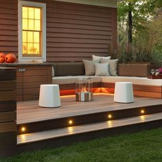 Raised decking, seating & hidden lighting, creates a great vibe!