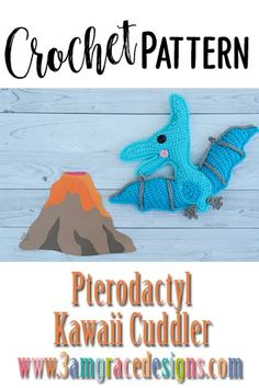 crochet dinosaur patterns How To Crochet A Pterodactyl Dinosaur Amigurumi Cuddler Pillow, Complete With Rosy Kawaii Cheeks And Smile With Our Fast Crochet Pattern! Fast Crochet, Crochet Food, Crochet For Kids, Crochet Crafts, Crochet Dinosaur Patterns, Crochet Patterns Amigurumi, Amigurumi Toys, Knitting Projects, Crochet Projects