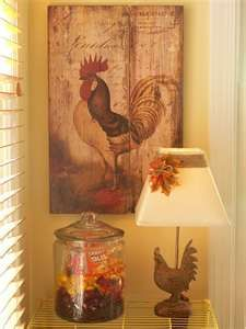 DIY Lampshade - love the Rooster print on the wall