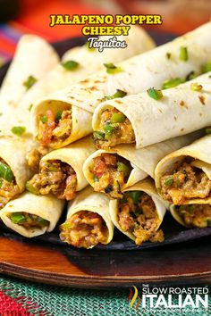 Jalapeno Popper Taquitos are the consummate Game Day food. An easy recipe that will knock your socks off, with instructions to make-ahead too. Loaded with your favorite popper flavors: jalapenos, bacon and ooey gooey cheese. Adding perfectly seasoned beef makes this an awesome dinner recipe and it is on our menu regularly!