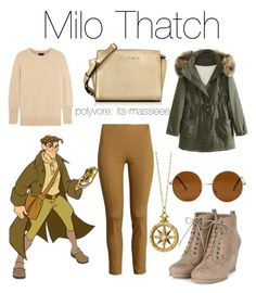 """""""Milo Thatch"""" by its-massieee ❤ liked on Polyvore featuring WithChic, Monica Rich Kosann, J.Crew, Michael Kors, Forever 21, women's clothing, women, female, woman and misses"""
