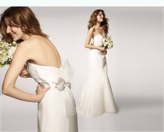 Soft Trumpet Gown (#R103G) Created in silk organza, this trumpet-shaped gown has a ruched sweetheart neckline, seams through the skirt to create shape, a bow-knot sash and a train that's just the right size.